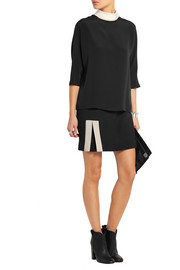 Fendi Contrast-collar silk-crepe top