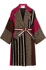 Fendi Patchwork wool-blend bouclé coat