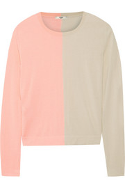 Two-tone cashmere and silk-blend sweater