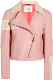 Fendi Striped leather biker jacket