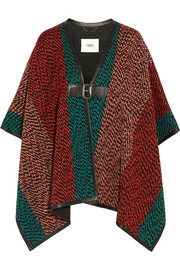 Leather-trimmed wool-blend bouclé cape