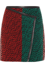 Leather-trimmed wool-bouclé wrap-effect mini skirt