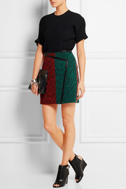 Fendi Leather-trimmed wool-bouclé wrap-effect mini skirt
