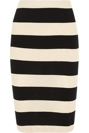 Striped cotton and linen-blend jersey pencil skirt
