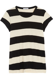 Striped cotton and linen-blend jersey T-shirt