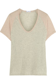 Two-tone brushed-cotton T-shirt
