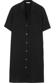 Linen mini shirt dress