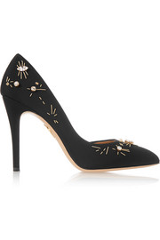 Decorative Vamp embellished faille pumps