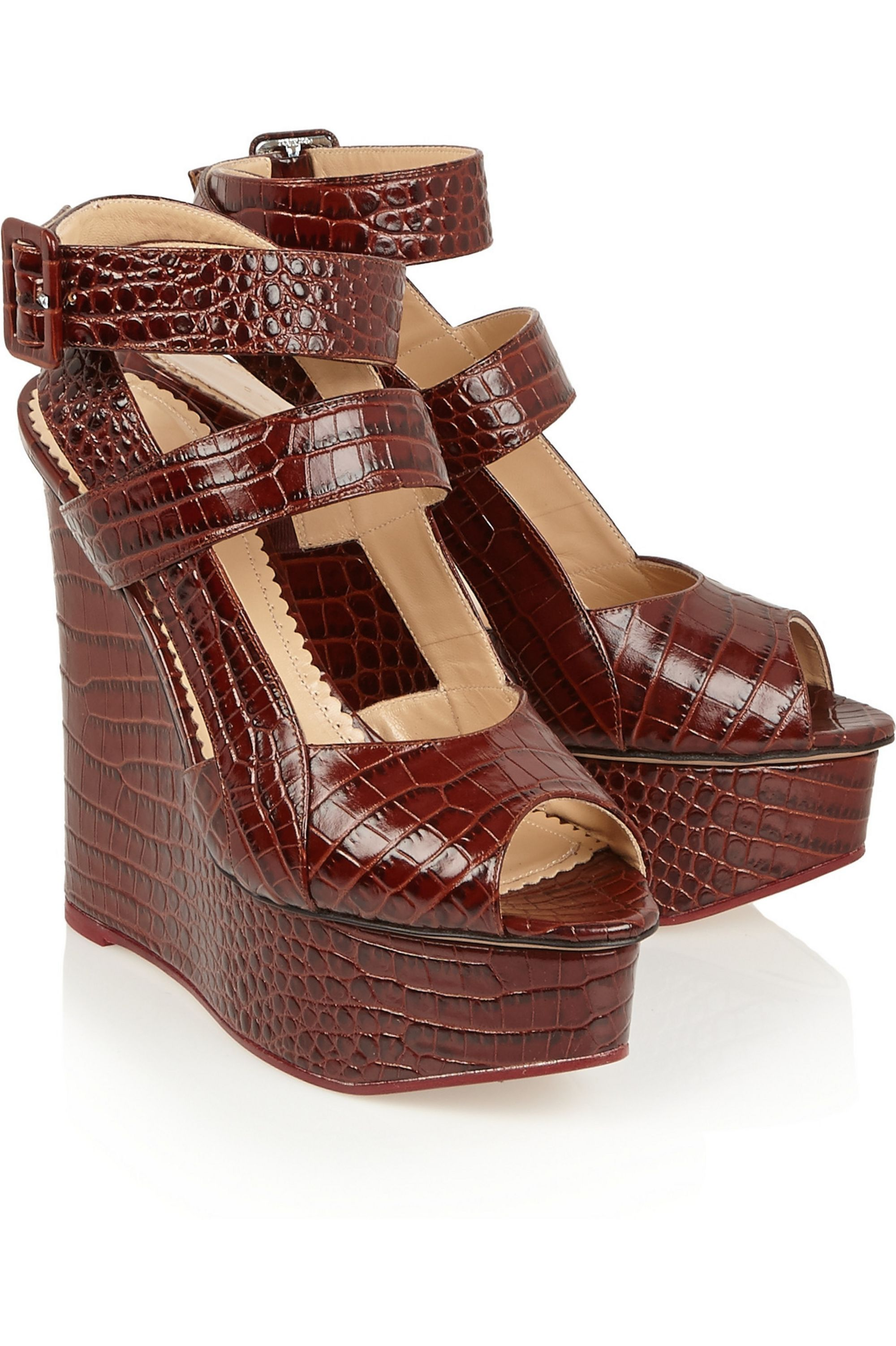 Charlotte Olympia Marcelle croc-effect glossed-leather wedge sandals