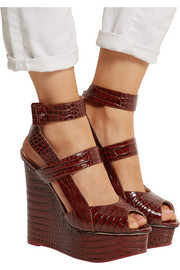 Marcelle croc-effect glossed-leather wedge sandals
