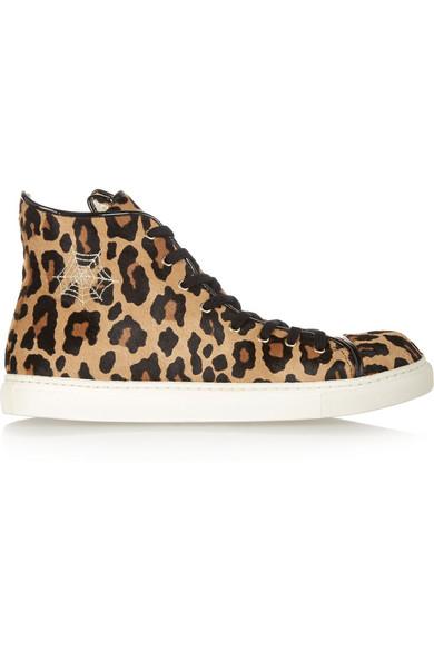 9c6f2161da57 Charlotte Olympia. Purrrfect leopard-print calf hair high-top sneakers