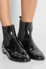 Charlotte Olympia Chelsea Cats leather ankle boots