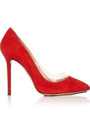 Charlotte Olympia Party Monroe PVC-trimmed suede pumps