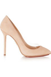 Party Monroe PVC-trimmed suede pumps