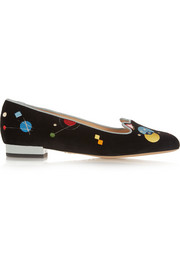 Abstract Kitty embroidered velvet slippers