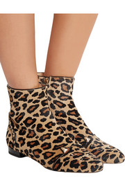 Puss In Boots leopard-print calf hair ankle boots
