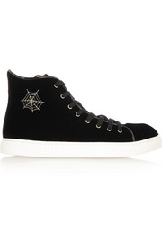 Charlotte Olympia Purrrfect embroidered velvet high-top sneakers