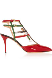 Charlotte Olympia MOMA Swarovski crystal-embellished patent-leather pumps