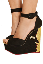 Two-Faced suede wedge sandals