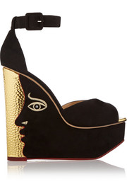 Charlotte Olympia Two-Faced suede wedge sandals