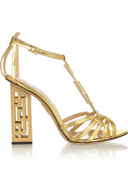 Geometric cutout metallic leather sandals