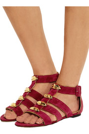 One More Kiss metallic-trimmed suede sandals
