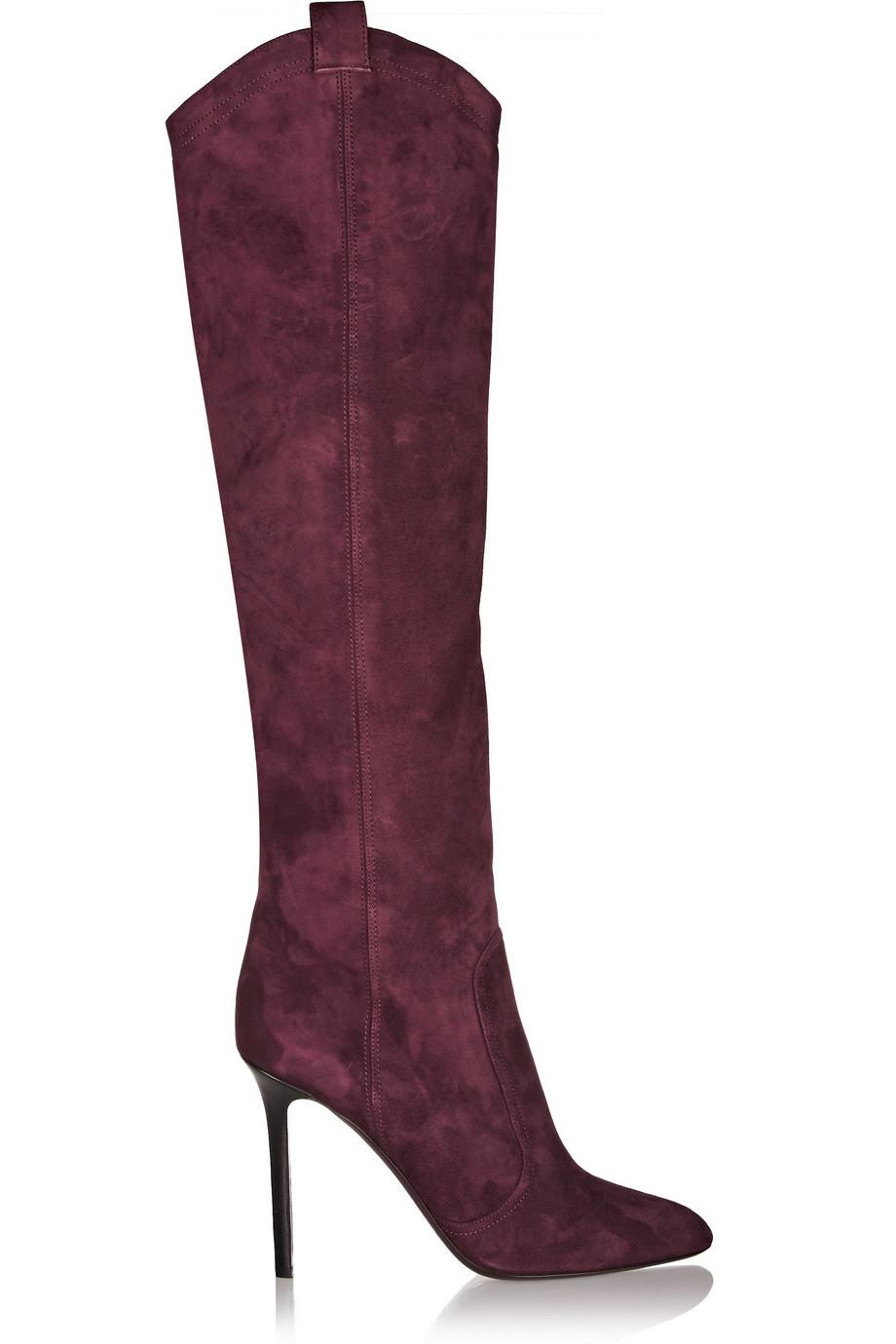 Tamara Mellon Crazy Ride Suede Knee Boots, Burgundy, Women's US Size: 10.5, Size: 41