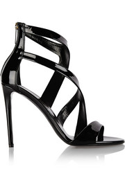 Tiger patent-leather sandals