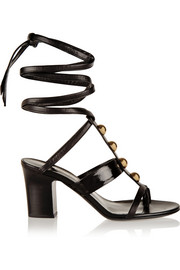 Tamara Mellon Montauk eel-paneled studded leather sandals