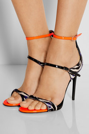 Escape calf hair and patent-leather sandals