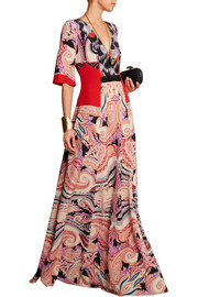 Embellished printed silk-jersey maxi dress