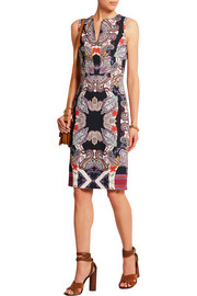 Printed stretch-crepe dress