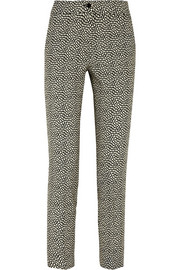Printed stretch-wool tapered pants