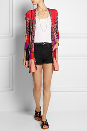Printed silk and cashmere-blend cardigan