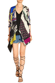 Printed stretch-knit cardigan