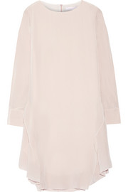 Ruffle-trimmed silk-crepe dress