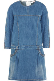 Stretch-denim mini dress
