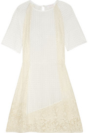 See by Chloé Guipure lace-paneled broderie anglaise cotton dress