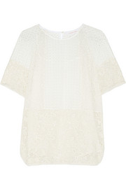 Broderie anglaise-paneled guipure lace top