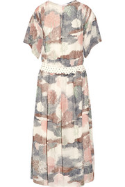 Printed georgette midi dress