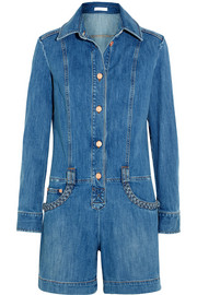 Braid-trimmed stretch-denim playsuit