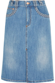 Stonewashed denim skirt