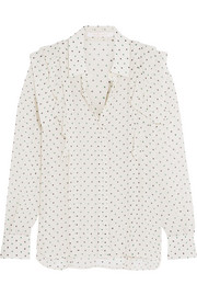 Ruffled polka-dot georgette blouse