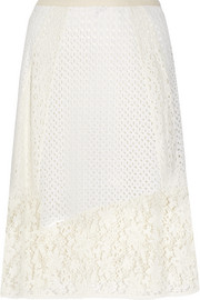 See by Chloé Broderie anglaise cotton and crocheted lace midi skirt