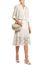 Broderie anglaise cotton and crocheted lace midi skirt