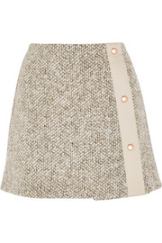 Wool-blend tweed mini skirt
