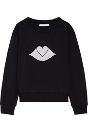 Embroidered cotton-fleece sweatshirt