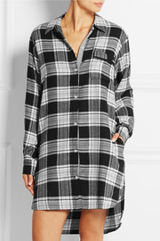 Plaid Perfect brushed cotton-blend shirt nightdress