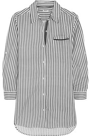 Striped brushed cotton-blend nightdress