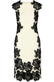 Guipure lace-trimmed stretch-crepe dress